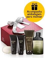 Presente Natura Kaiak Urbe - Desodorante Colônia + Shampoo + Gel para Barbear + Gel após Barba + Sabonete em Barra + Embalagem